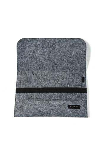VIENTO: Sötétszürke filc laptoptáska fekete pánttal / M méret