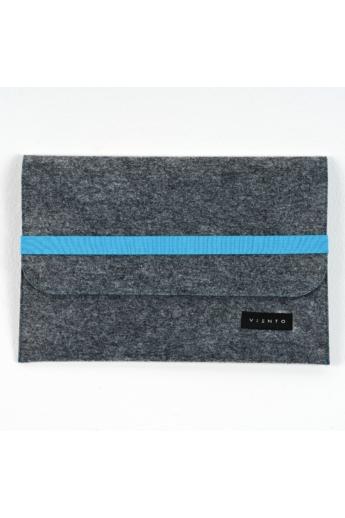 VIENTO: Sötétszürke filc laptoptáska kék pánttal / M méret