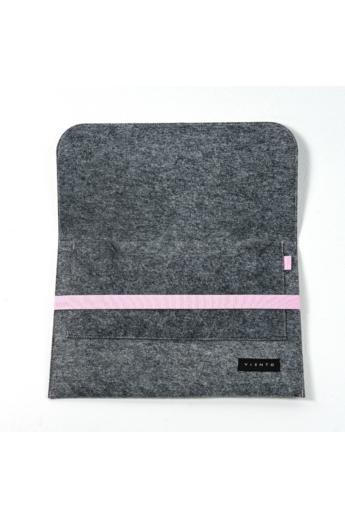 VIENTO: Sötétszürke filc laptoptáska rózsaszín pánttal / M méret