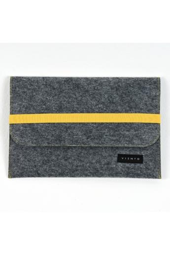VIENTO: Sötétszürke filc laptoptáska sárga pánttal / S méret