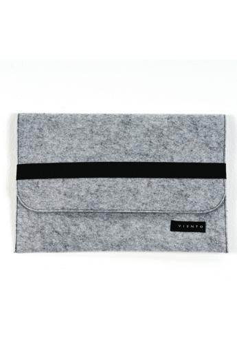 VIENTO: Világosszürke filc laptoptáska fekete pánttal / S méret