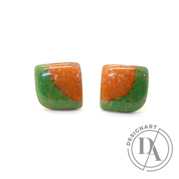 AME Creation: Körcikk narancs-zöld / kicsi tűzzománc fülbevaló