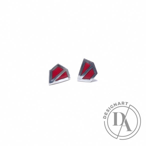 AME Creation: Sokszög piros kicsi ezüst tűzzománc fülbevaló