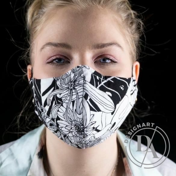 Artista: Arcmaszk / Fekete fehér virágos