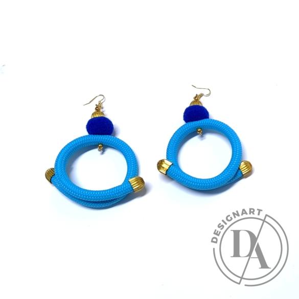 Bárkay Ágnes: Dorothea fülbevaló / kék zsinórból