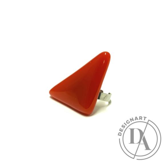 Bari's: Háromszög üveg-nemesacél gyűrű - piros