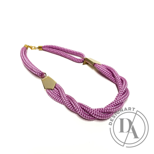 Bari's: Zsinór ékszer szett / nyaklánc és karkötő - pink