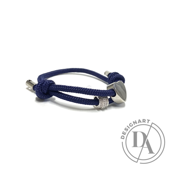 Bari's: Zsinór karkötő, csúszócsomós,szív és köves medállal - kék