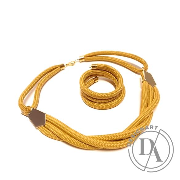 Bari's: Zsinór ékszer szett / nyaklánc és karkötő - sárga