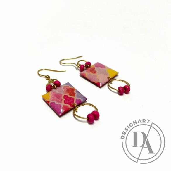 COTA: Rózsaszín arabeszkes fülbevaló