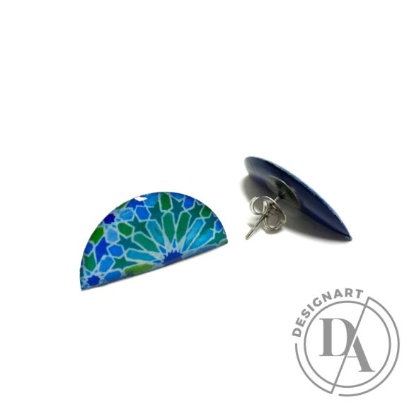 COTA: Kék arabeszkes félhold fülbevaló