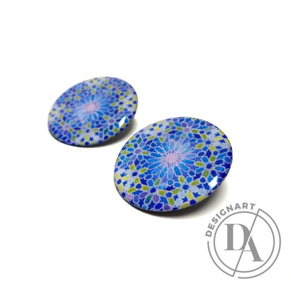 COTA: Kék arabeszkes kör fülbevaló