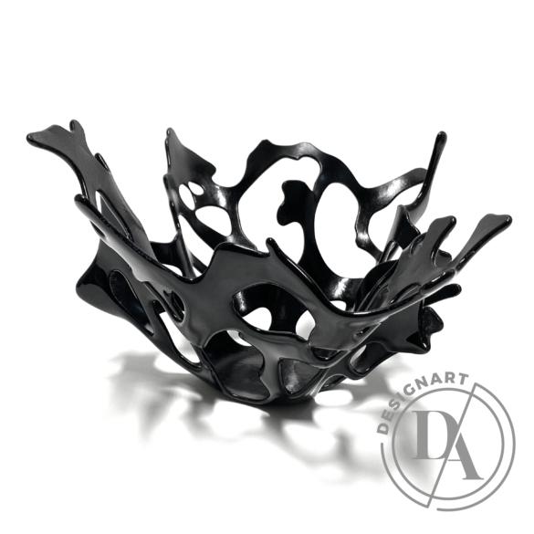 Deák Design: Korall üveg tál - fekete
