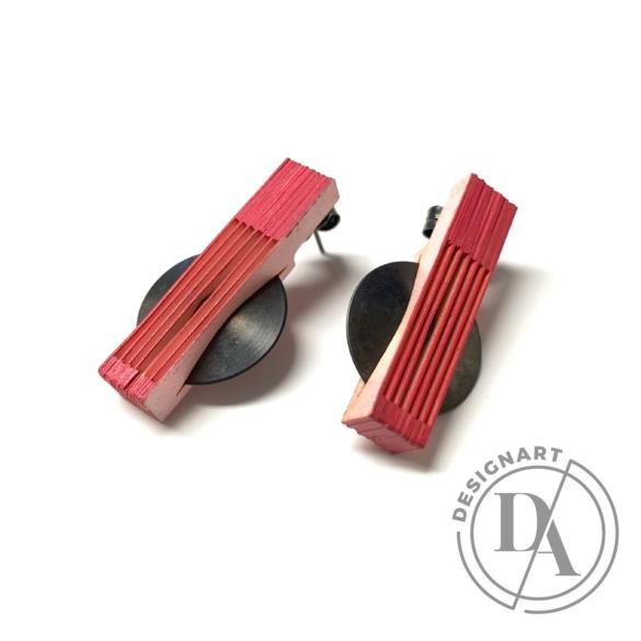 Veron: Kicsi lamella fülbevaló - piros