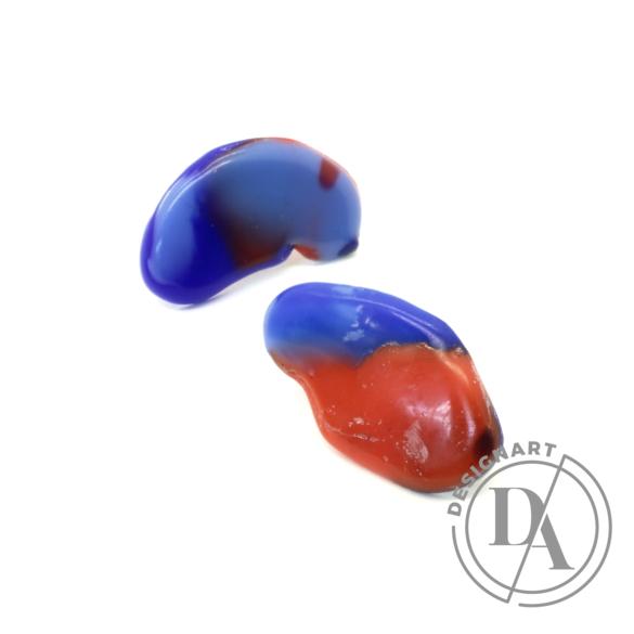 Borbala Design: Mini fülbevaló / piros-kék