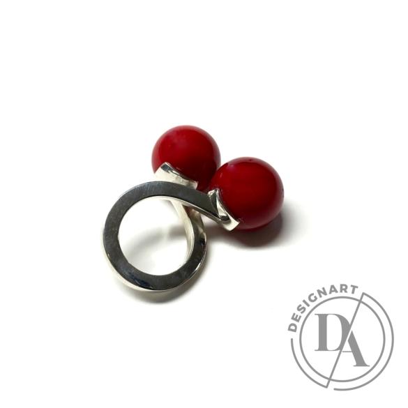 Gaál Gyöngyvér: Duplagolyós gyűrű / ezüst