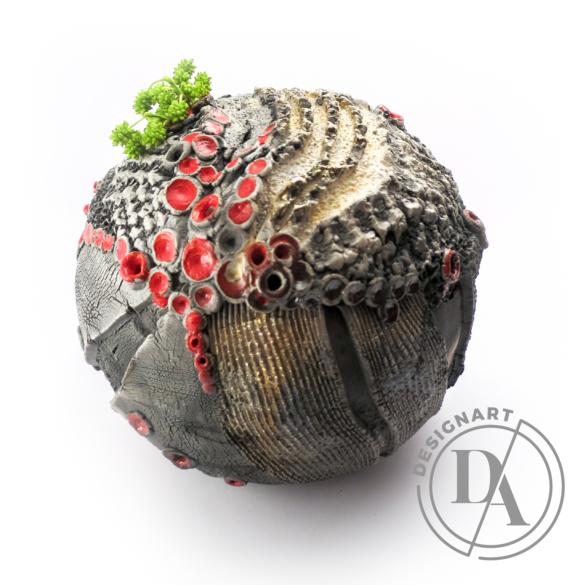 Károlyi Ildikó: Korallzátony / Raku / magasság 16cm, ø 18cm