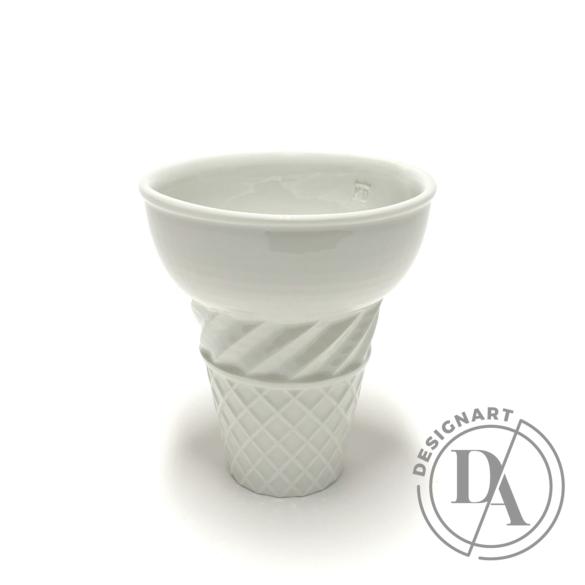 Knetik Dóra: Porcelán fagyitölcsér fehér N2 / magasság 12cm
