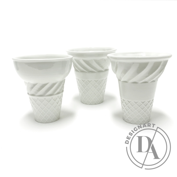 Knetik Dóra: Porcelán fagyitölcsér fehér N3 / magasság 12cm