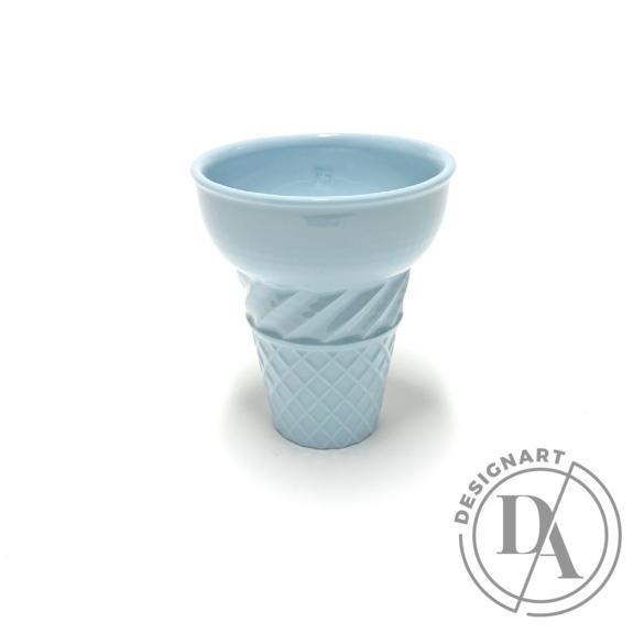 Knetik Dóra: Porcelán fagyitölcsér kék N3 / magasság 12cm