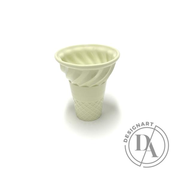 Knetik Dóra: Porcelán fagyitölcsér sárga N2 / magasság 12cm