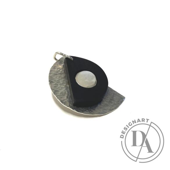 Krizokolla: Fa–fém-kő ezüst medál