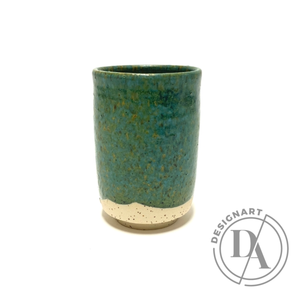 Márta Nóra: Zöld, pirites teás bögre / magasság 13cm, ø 9cm