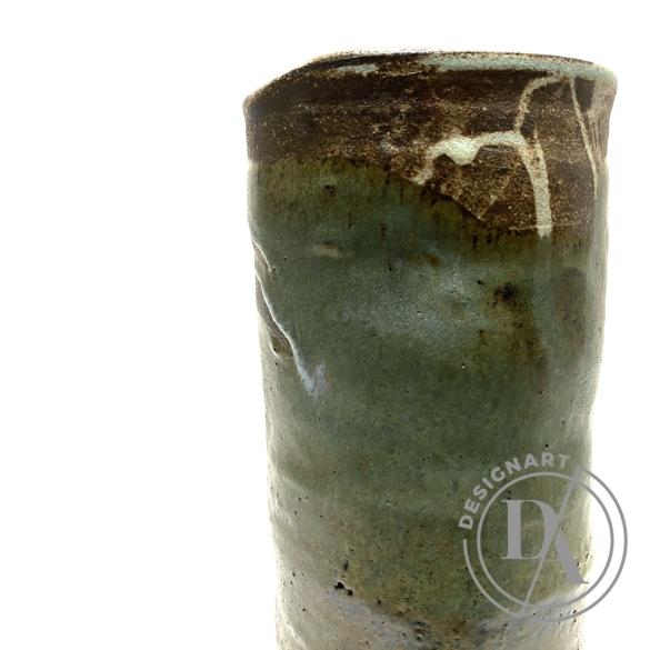 Márta Nóra: Fatörzs csőváza / magasság 28cm, ø 10cm