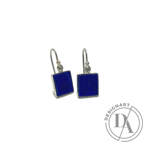 Mester Éva: Szögletes fülbevaló (kövek: lapis lazuli, cirkónia)