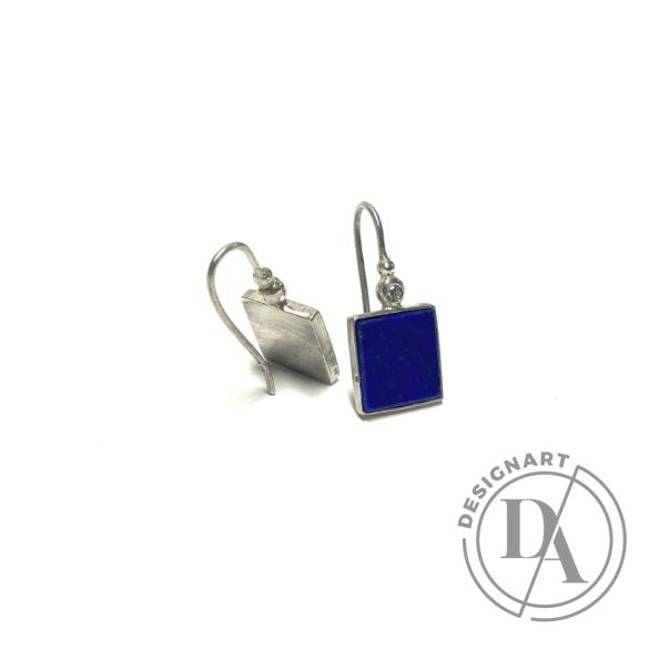 Mester Éva: Szögletes fülbevaló (kövek: lapis lazuli