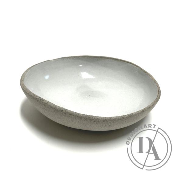 Pastel Ceramics:  Közepes fehér mázas szürke tál / ø19cm