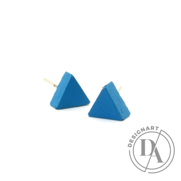 Rebelle: Kicsi háromszög beton fülbevaló / kék