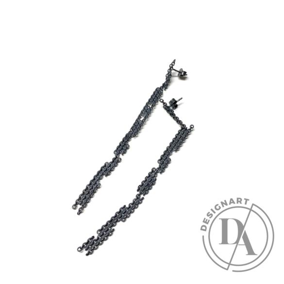 Tengely Nóra: Fragment XL fülbevaló - fekete