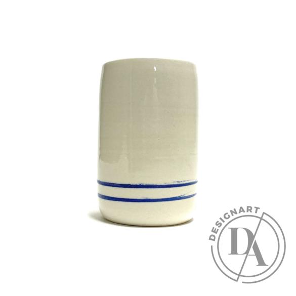 Tiéd: Kékcsíkos váza / magasság 11cm,ø 7cm