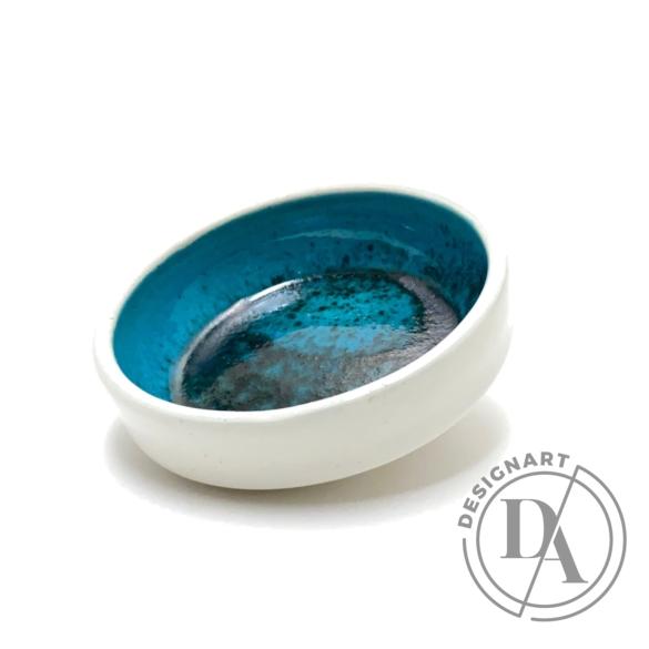 Tiéd: Kis lapos tálka - kék / magasság 3cm, ø 10cm